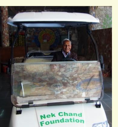 Nek Chand in Golf Cart