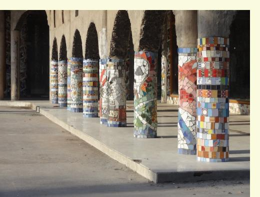 Mosaic columns created by NCF volunteers, Phase 3, Rock Garden