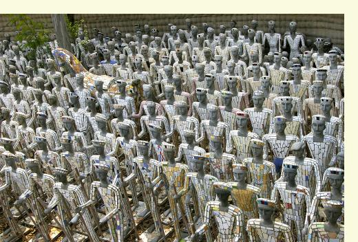 Mass ranks of 'white men' statues, Rock Garden, Chandigarh